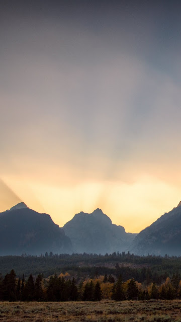 Landscape, mountains, sunset, rays of light