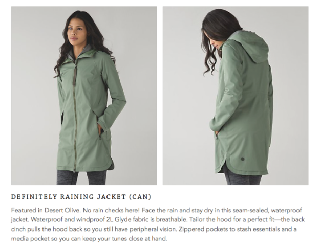 lululemon desert-olive definitely-raining-jacket