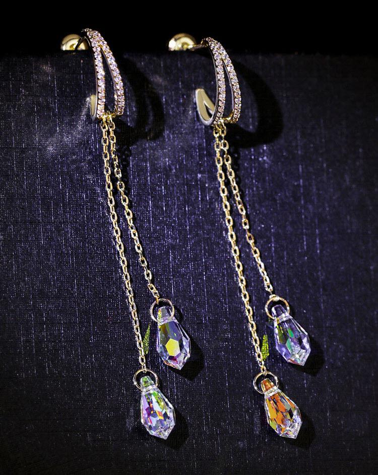 絕美氣質水晶流蘇耳環