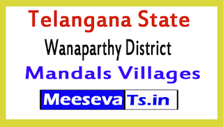Wanaparthy District Mandals Villages In Telangana State