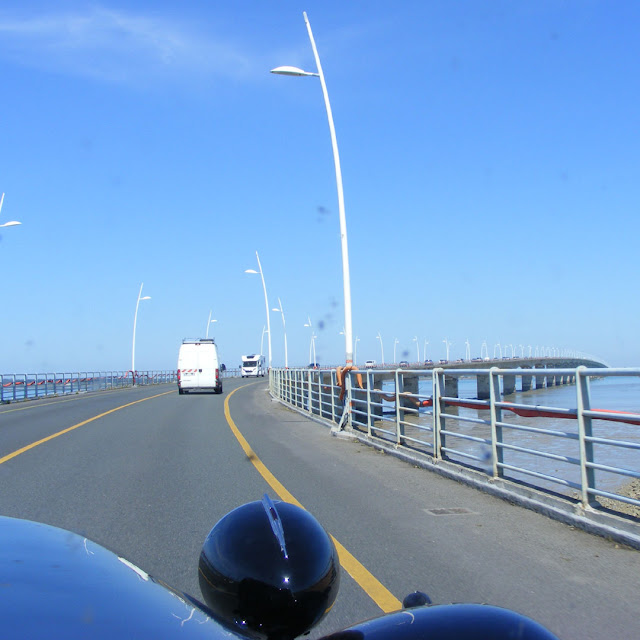 Crossing the bridge from the mainland to the Ile d'Oleron, Charente-Maritime, France. Photo by Susan Walter.