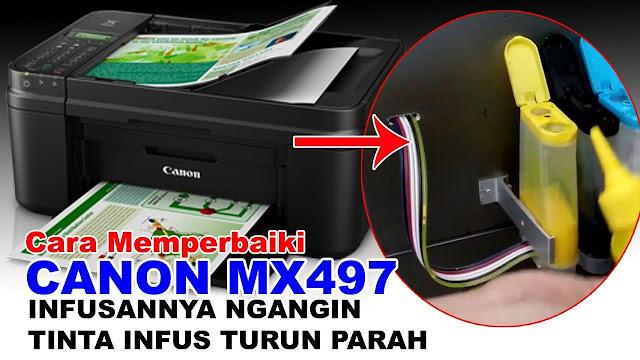 Infusan Ngangin Printer Canon MX497, canon mx497 tinta infusan turun