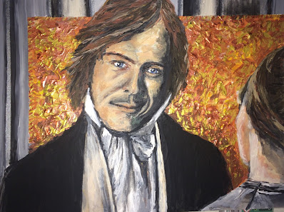 Jane Eyre et Rochester peint par Karine Babel artiste à Brantôme