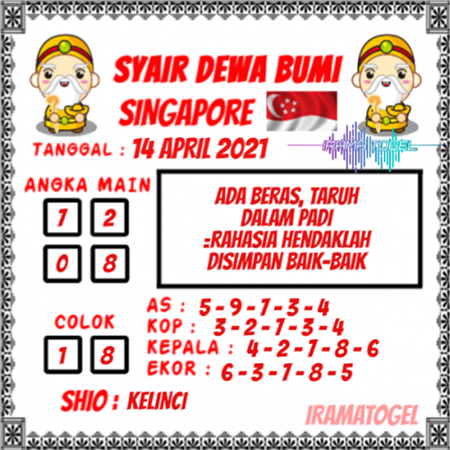 Syair Dewa Bumi SGP Rabu 14 April 2021