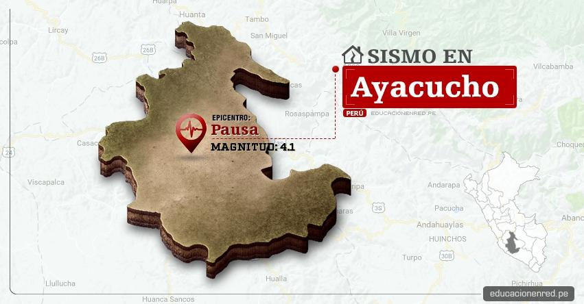 Temblor en Ayacucho de 4.1 Grados (Hoy Domingo 16 Abril 2017) Sismo EPICENTRO Pausa - Páucar del Sara Sara - IGP - www.igp.gob.pe