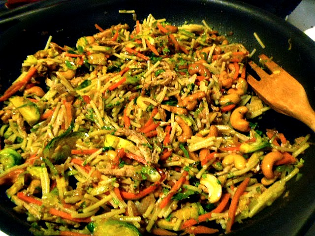 Chicken, Brussels Sprouts, and Noodle Stir Fry  - an easy, healthy, weeknight meal! - Slice of Southern