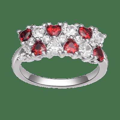 Nhẫn bạc đính đá màu đỏ PNJSilver Fantasia
