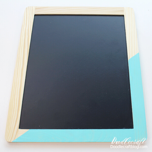 Paint the wood, then remove the tape and let the chalkboard dry completely.