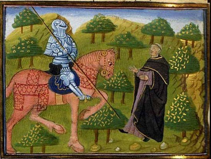 Гавейн і священик. Ланселот дю Лак Кретьєн де Труа. XV століття. Національна бібліотека Франції.