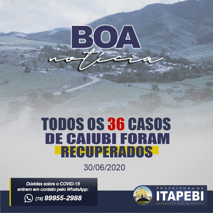 Itapebi: Todos 36 casos de Covid-19 que foram registrados no distrito de Caiubi, todos estão recuperados