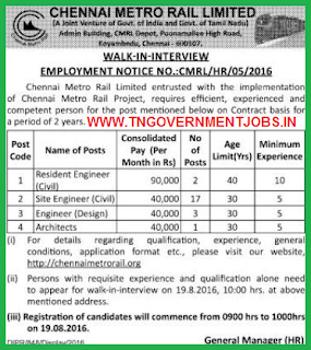 CMRL Walk in interview for Resident Engineer (Civil), Site Engineer (Civil), Engineering Design and Architest Post