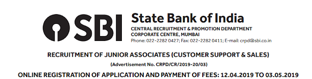 SBI Clerk Notification 2019 Apply Online