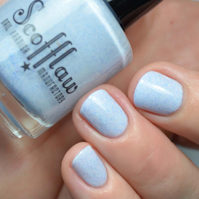 blue grey nail polish with shimmer