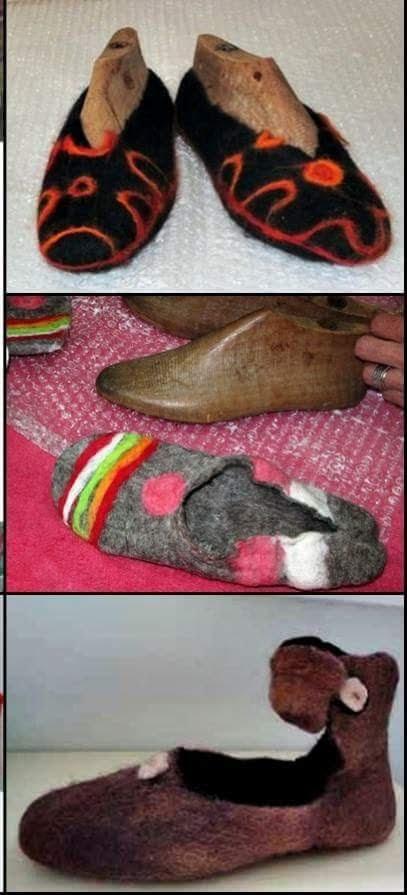 calzado de fieltro artesanal