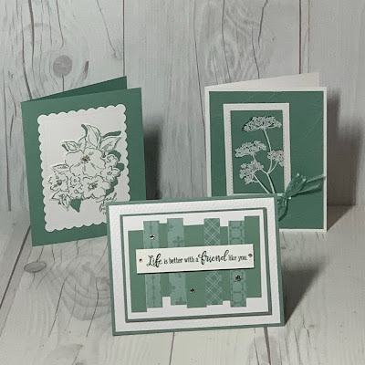Three handmade greeting cards featuring Soft Succulent In Color from Stampin' Up!.