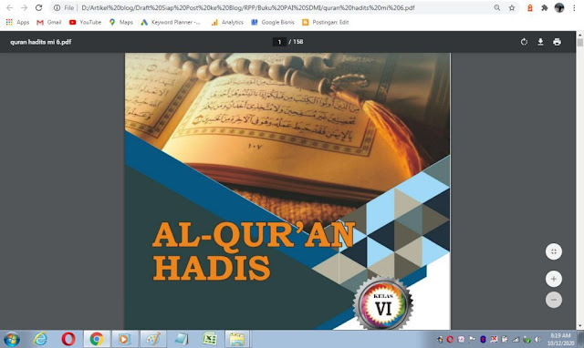 Buku Al-Qur'an Hadis kelas 6 sd/mi sesuai kma 183 tahun 2019
