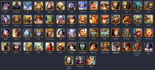 smite characters but likely outdated since this updates all the time