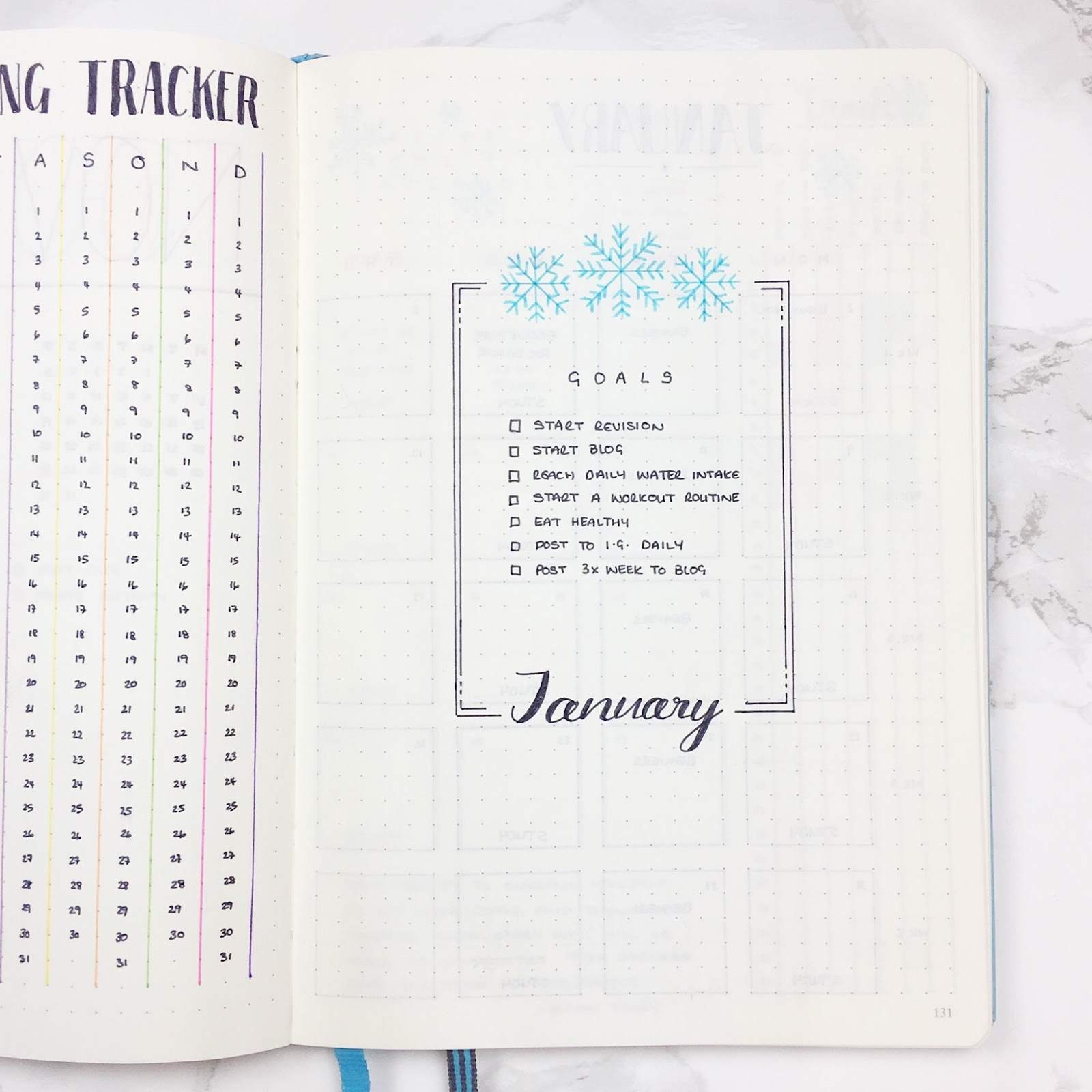 Bullet Journal January Header Template