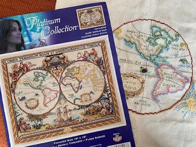 Olde World Map cross stitch kit by Janlynn in progress