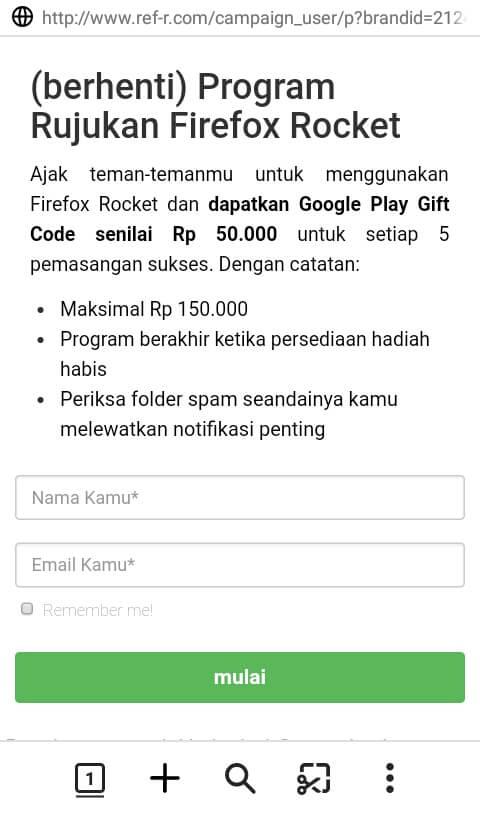 Cara mendapatkan Voucher Google Play dari aplikasi Mozilla Firefox Rocket Terbaru