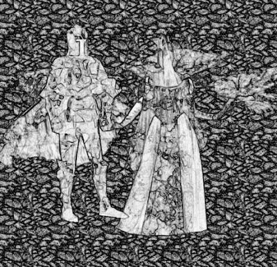 Illusztráció gyerekvershez, lovagi vértet, kesztyűt, sisakot, köpenyt, pallost viselő Lord Makadám és Lady Rebarbara palotájuk zúzott köves udvarán.