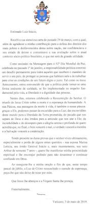 Carta do Papa Francisco a Lula