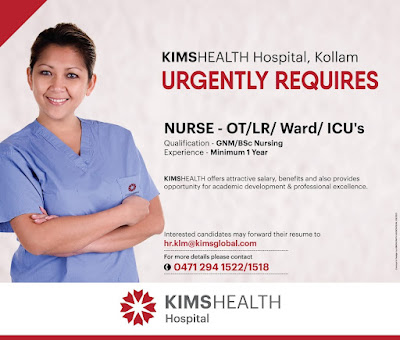 Urgently Required Nurses to KIMS HEALTH Hospital, Kollam