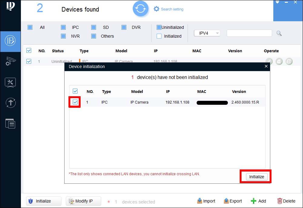 Инструкции по инициализации IP-камеры Dahua