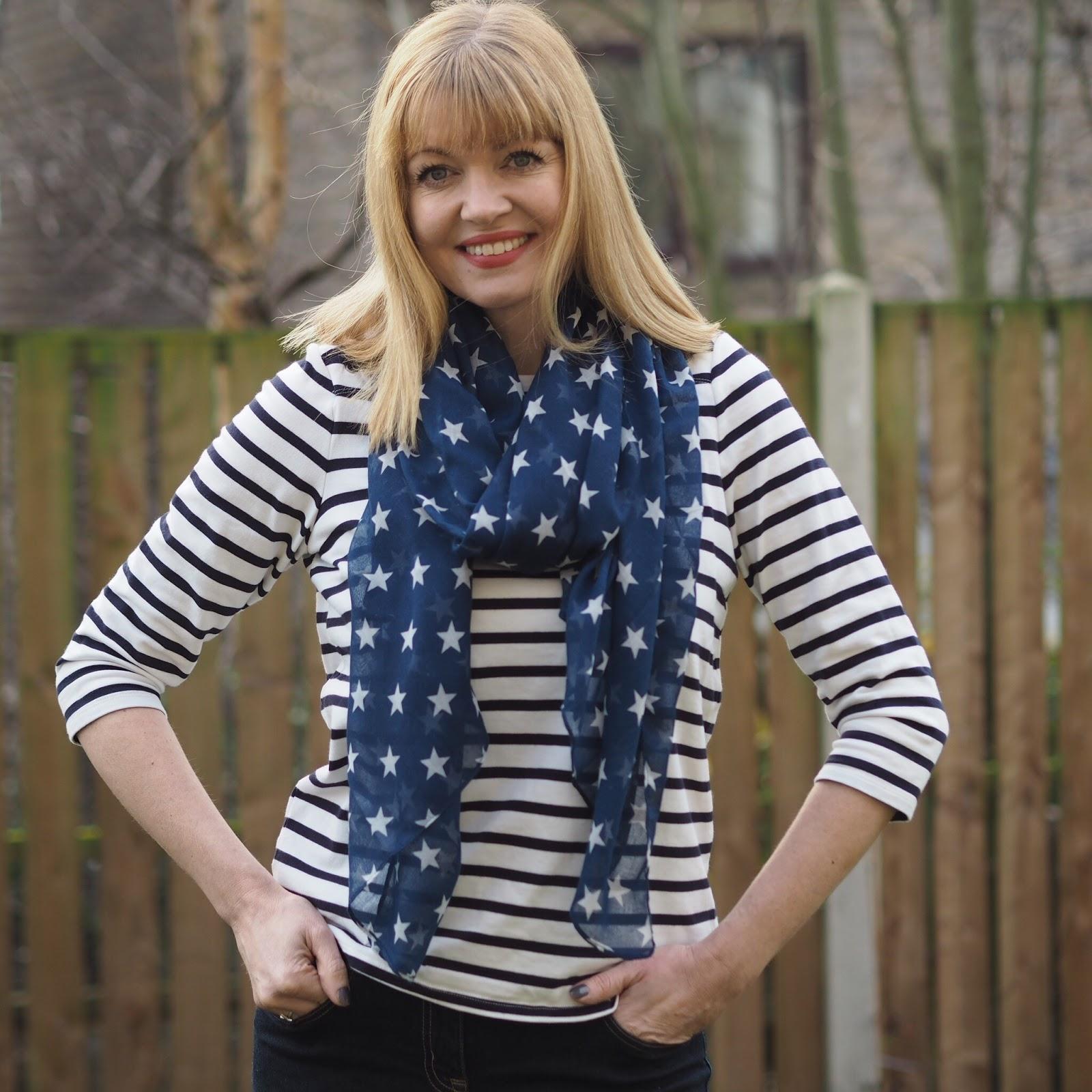 Navy stars scarf, £12.50
