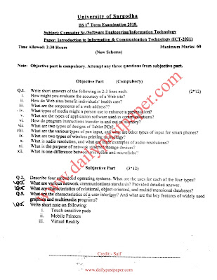 Introduction to Information & Communication Technology (ICT) Past Paper 1st Term 2018 Sargodha University