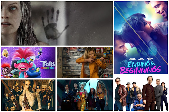 collage - The Invisible Man, Endings Beginnings, Trolls World Tour, The Hunt, The Gentlemen, Birds of Prey, Ready or Not