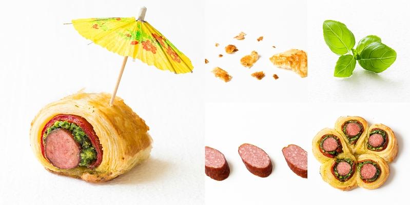Kabanos Snackröllchen mit Pesto und Paprika
