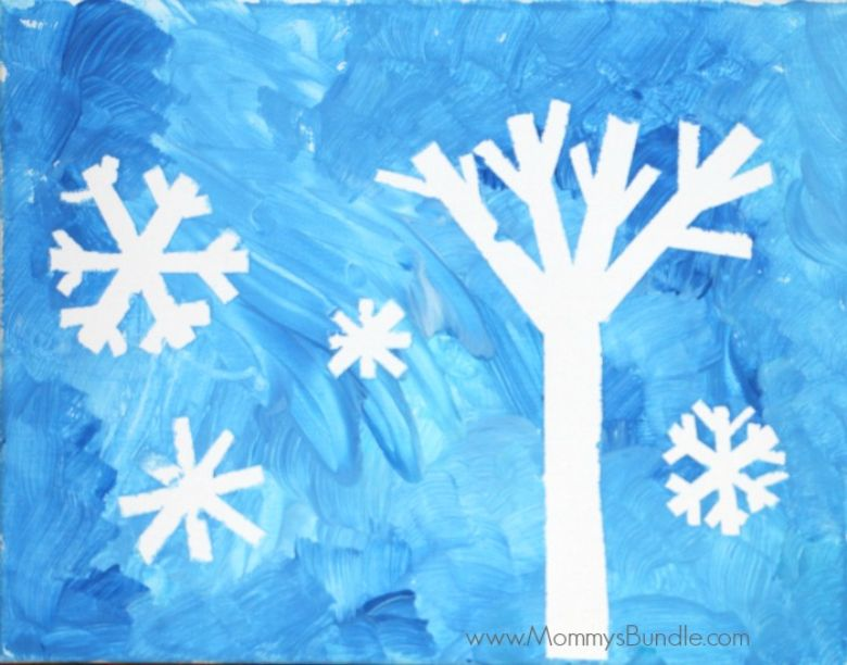 tape resist snowflake craft for preschoolers