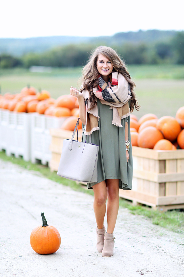 T-shirt dress paired with blanket scarf
