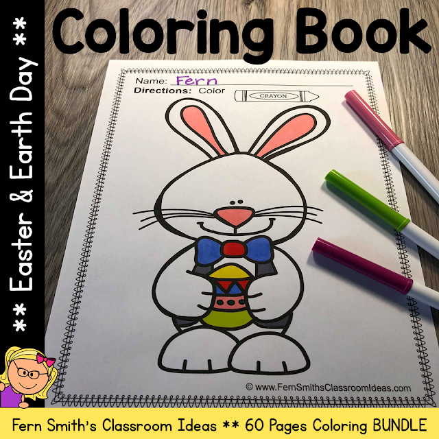 Easter Coloring Pages and Earth Day Coloring Pages Bundle - 60 Pages of Easter and Earth Day Fun Bundle #FernSmithsClassroomIdeas