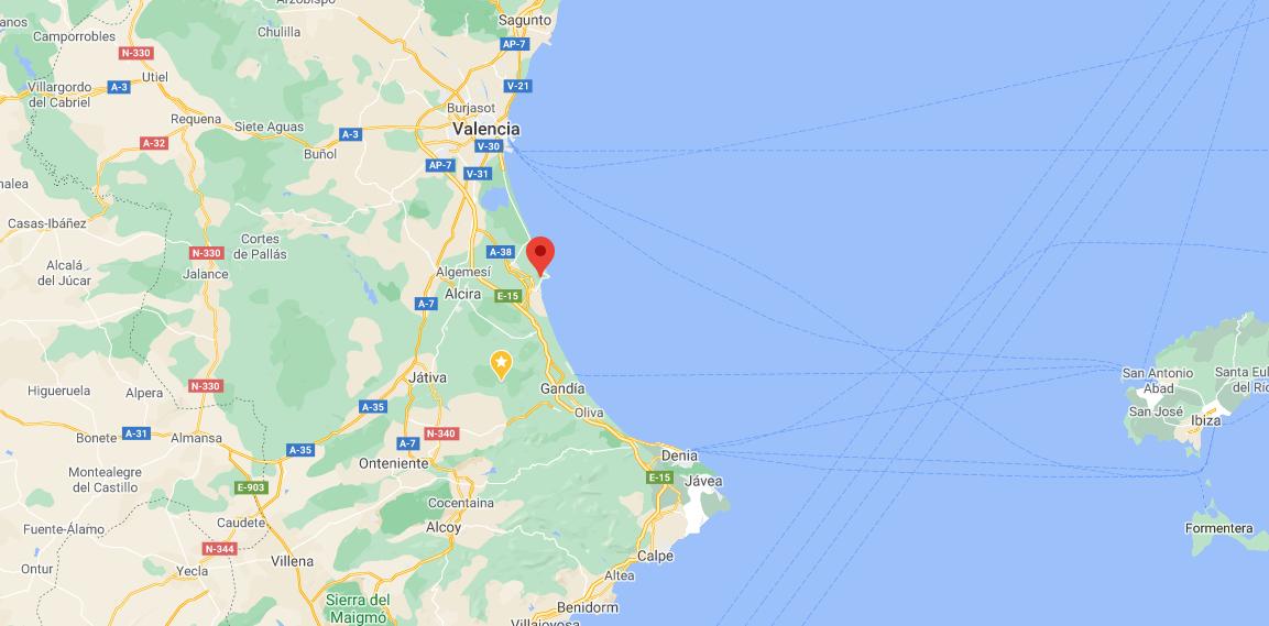 Map showing location of la Bola de Cullera, Valencia