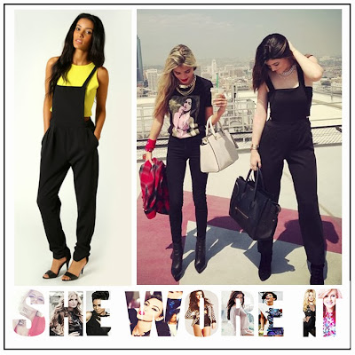 Black, Boohoo, Cut Out, Cut Out Detail, Jumpsuit, Kylie Jenner, Pinafore, Pinafore Jumpsuit, Square Neckline, Tailored, Thick Straps,