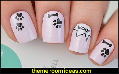 Doggy Nail Polish Wraps  animal nail art dog paws nail stickers animal nail decorations animal themed nails woof dog decals