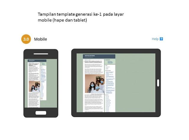 tampilan template generasi pertama pada layar mobile zaman now