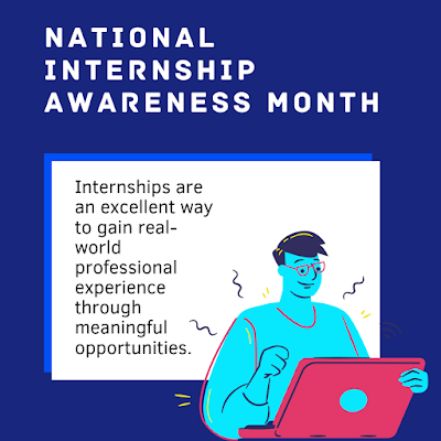 "Graphic shows a person sitting at a laptop. Content says, ""internships are an excellent way to gain realworld professional experience through meaning opportunities"