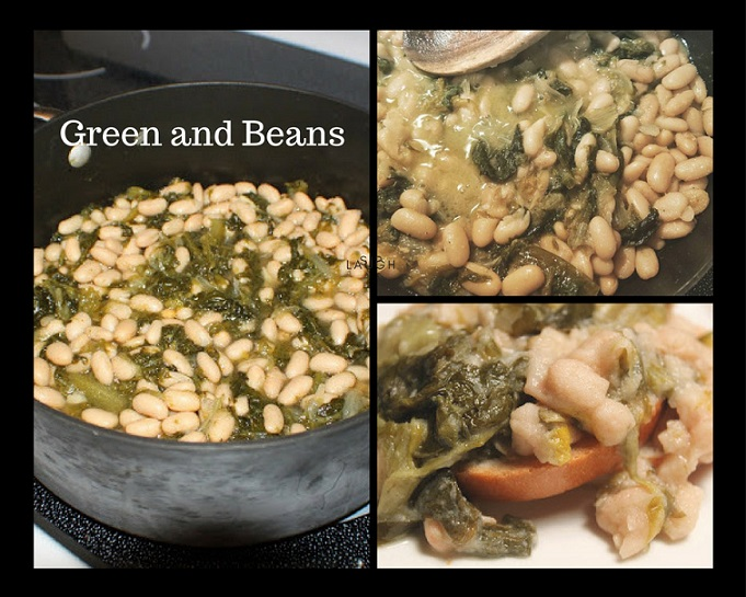 this is a collage of escarole and beans a thick stew like greens and beans recipe