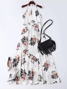 Bohemian Floral Open Back Maxi Dress Zaful