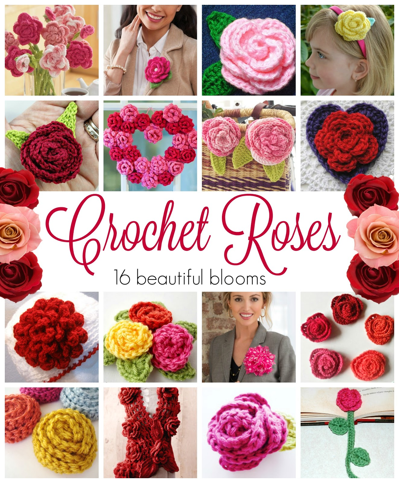 Fiber Flux: Crochet Roses! 16 Free Crochet Patterns...