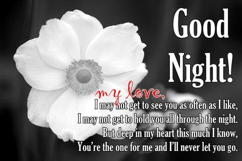 Black and White Good Night Flower with Quotes