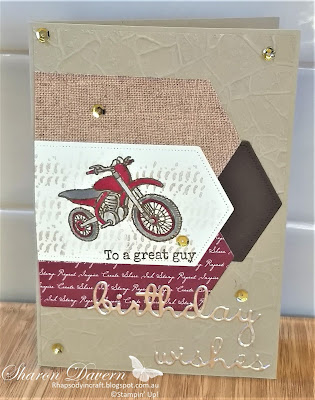 Pedal to the Metal, Birthday Card, Male Cards, Masculine cards, Stampin' Up!, Rhapsody in craft, Stone 3D, Motorbike, #loveitchopit