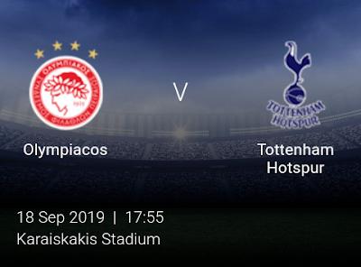 LIVE MATCH: Olympiacos Vs Tottenham Hotspur UEFA Champions League 18/09/2019