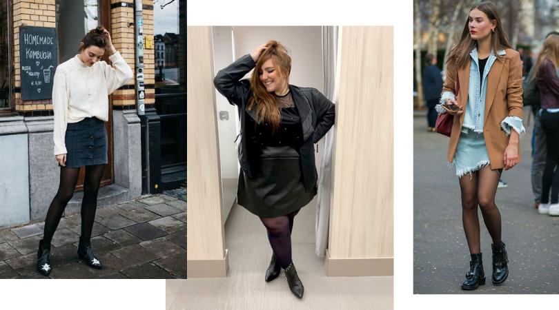 a imagem contém três modelos, uma modelo usando minissaia jeans escura com meia-calça preta, botas pretas e blusa branca; a segunda modelo plus size usando minissaia e jaqueta pretas com meia-calça preta e botas pretas, a terceira modelo usando minissaia e camisa jeans, casaco marrom, meia-calça e botas pretas.