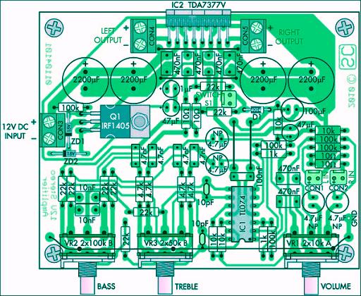 Rangkaian Amplifier Stereo Watt IC TDAV Volt DUNIA