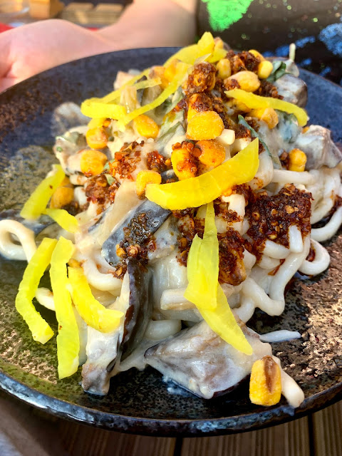 Noodles being held out on dark plate