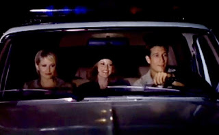 Picture of Thomas' wife Joise sitting in a car with her co-actors